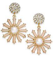 I.N.C. Gold-Tone Stone & Pavé Flower Burst Drop Earrings, Created for Macy's