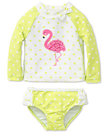 Little Me 2-Pc. Flamingo Rash Guard Set, Baby Girls