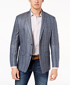 Michael Kors Men's Classic-Fit Blue/Gray Plaid Sport Coat