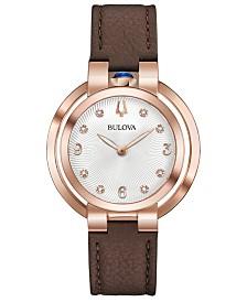 Bulova Women's Rubaiyat Lady Ganga Diamond-Accent Brown Leather Strap Watch 35mm, Commemorate Edition
