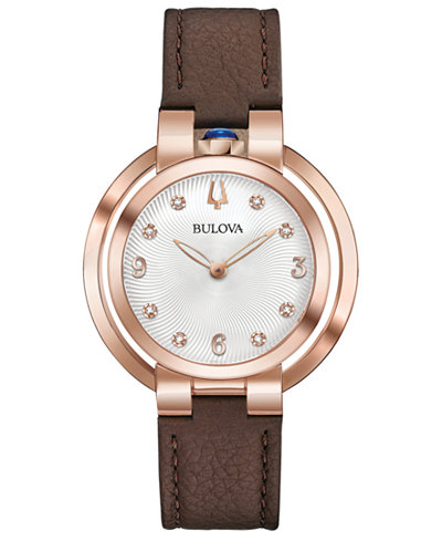 Bulova Women's Rubaiyat Lady Ganga Diamond-Accent Brown Leather Strap Watch 35mm, Commemorate Edition