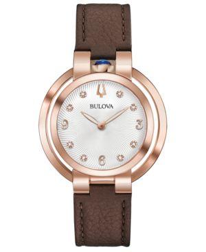 BULOVA Women'S Rubaiyat Lady Ganga Diamond-Accent Brown Leather Strap Watch 35Mm, Commemorate Edition in White/Brown