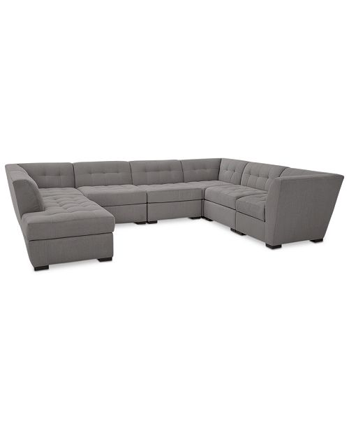 official photos ea74a ae996 Roxanne II Performance Fabric 7-Pc. Modular Sofa with Bumper Chaise,  Created for Macy's
