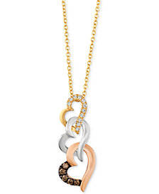 Le Vian® Diamond Tri-Color Heart Pendant Necklace (1/10 ct. t.w.) in 14k Gold, White Gold & Rose Gold