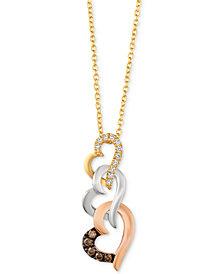 Le Vian® Diamond Tri-Color Heart Pendant Necklace (1/10 ct. t.w.) in 14k Gold, White Gold & Rose Gold