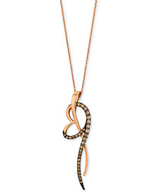 "Le Vian Chocolatier® Diamond Abstract Heart 18"" Pendant Necklace (5/8 ct. t.w.) in 14k Rose Gold"