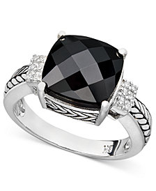 Balissima by EFFY Onyx (10 x 10mm) and Diamond Accent in Sterling Silver