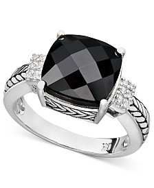 Balissima by EFFY® Onyx (10 x 10mm) and Diamond Accent in Sterling Silver