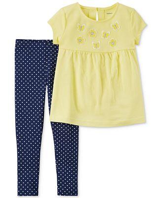Carter's 2-Pc. Cotton Top & Dot-Print Leggings Set, Toddler Boys