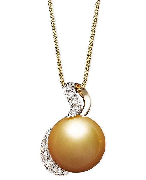 Macy's 14k Gold Necklace, Cultured Golden South Sea Pearl (13mm) and Diamond (1/3 ct. t.w.) Pendant