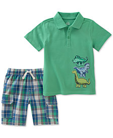 Kids Headquarters 2-Pc. Graphic-Print Cotton Polo & Shorts Set, Baby Boys