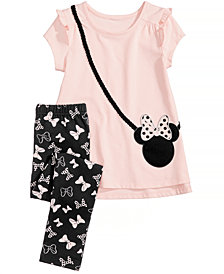 Disney's® 2-Pc. Minnie Mouse Purse Top & Leggings Set, Little Girls