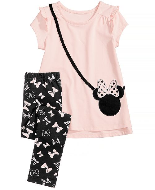 5539da36b9b71 Disney 2-Pc. Minnie Mouse Purse Top & Leggings Set, Little Girls ...