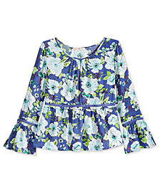 Kandy Kiss Floral-Print Gauze Top, Big Girls