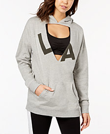 Material Girl Active Juniors' Cutout Graphic Hoodie, Created for Macy's