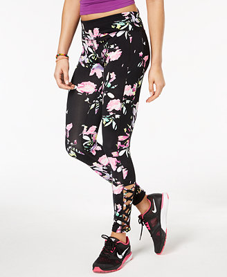 Active Juniors' Spring Bloom Caged Leggings, Created For Macy's by Material Girl