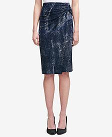 DKNY Printed Midi Wrap Skirt