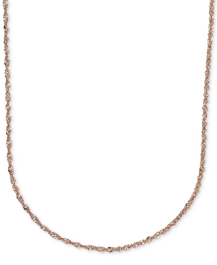 Italian Gold - Two-Tone Perfectina Chain Necklace in 14k Rose Gold & White Rhodium Plate