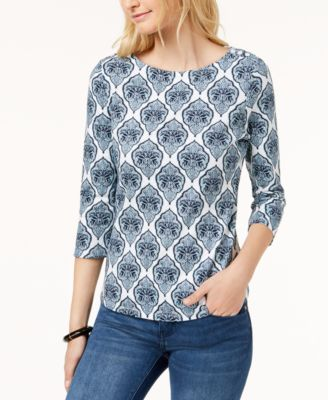 Image of Charter Club Button-Shoulder Print Top In Regular & Petite Sizes, Created for Macy's
