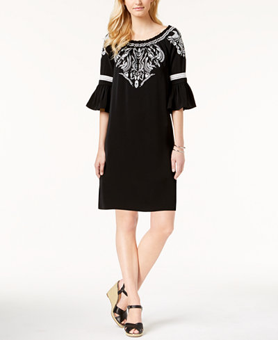 Charter Club Embroidered Bell-Sleeve Dress, Created for Macy's