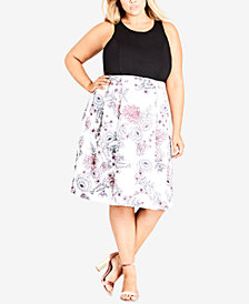City Chic Trendy Plus Size Floral-Print A-Line Dress