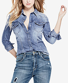 GUESS Embellished Chambray Shirt