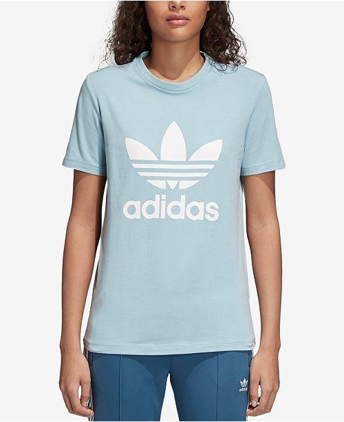 cb416032 adidas adicolor Cotton Trefoil T-Shirt & Reviews - Tops - Women - Macy's