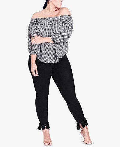 City Chic Trendy Plus Size Cotton Off-The-Shoulder Top