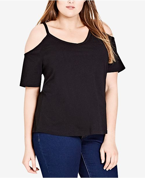 2e126c67986 City Chic Trendy Plus Size Cotton Cold-Shoulder Top - Tops - Plus ...