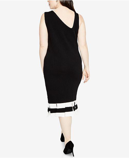RACHEL Rachel Roy Trendy Plus Size Carwash-Hem Sweater Dress ...