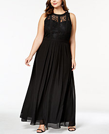 Betsy & Adam Plus Size Lace-Bodice Illusion Gown