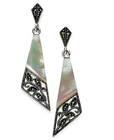 Marcasite and Mother-of-Pearl Drop Earrings in Fine Silver-Plate