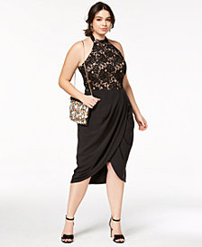 City Chic Trendy Plus Size Lady Portia Faux-Wrap Halter Dress