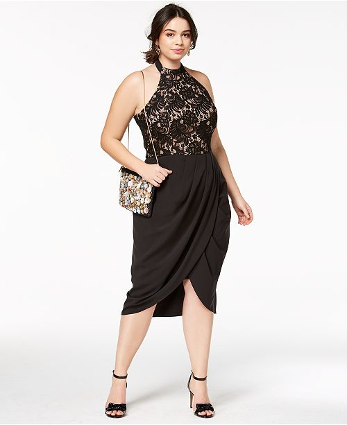 City Chic Trendy Plus Size Lady Portia Faux Wrap Halter Dress