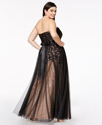 City Chic Trendy Plus Size Strapless Tulle-Overlay Ball Gown ...