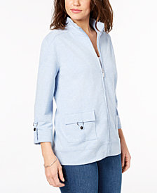 Karen Scott Petite Cotton Zip Jacket, Created for Macy's