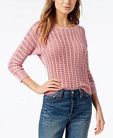 Free People Boomerang Cotton Boat-Neck Sweater