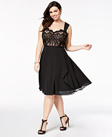 City Chic Plus Size Lace Fit & Flare Dress