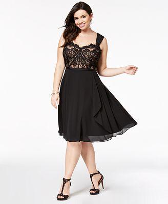 City Chic Plus Size Lace Fit Flare Dress Women Macy S