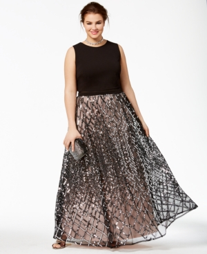 Trendy Plus Size Illusion Gown