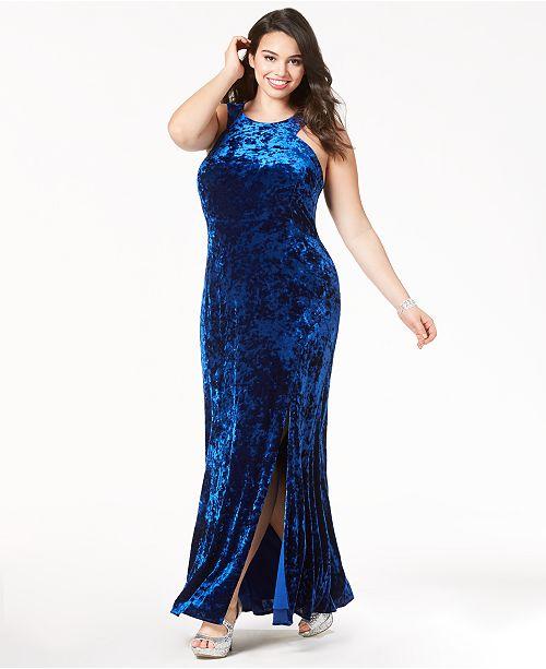 Morgan & Company Trendy Plus Size Velvet Bodycon Gown ...