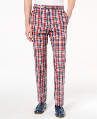 Men's Classic-Fit Red Plaid Madras Dress Pants