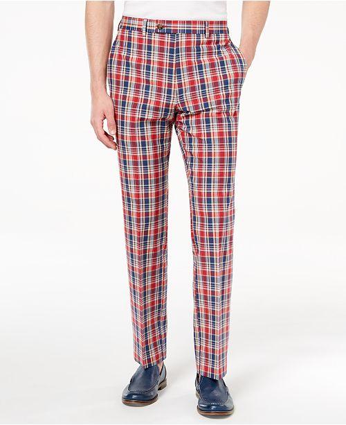 7669d87a9126 ... Lauren Ralph Lauren Men s Classic-Fit Red Plaid Madras Dress Pants ...
