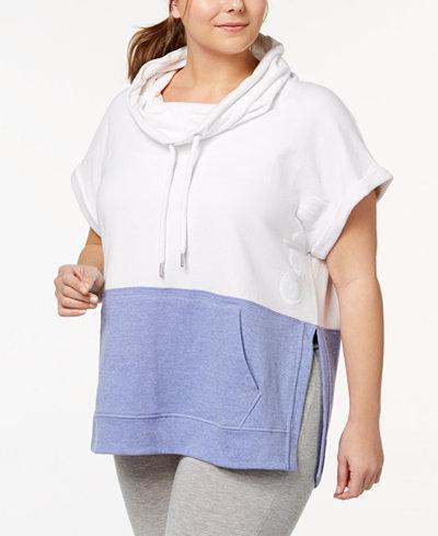 Calvin Klein Performance Plus Size Colorblocked Cowl-Neck Sleeveless Top