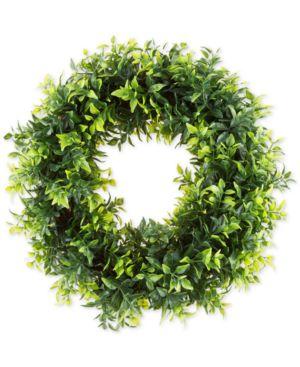 "Pure Garden Faux Opal Basil Leaf 11.5"" Round Wreath 5670084"