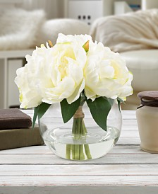 "Pure Garden White Rose Floral Arrangement with Vase, 8"" x 5.5"" x 5.5"""