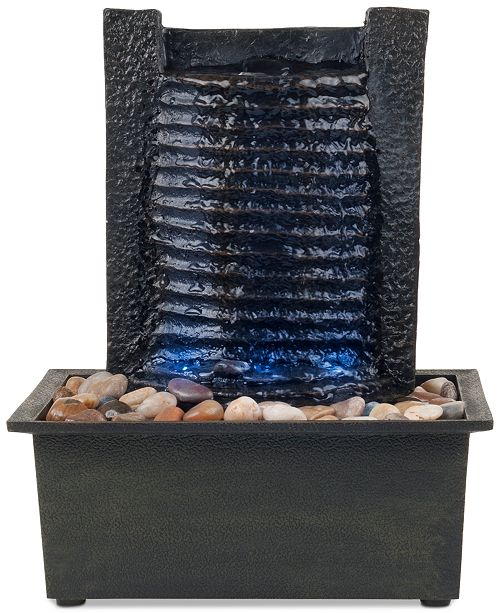 Trademark Global Pure Garden Waterfall Tabletop Fountain with LED Lights