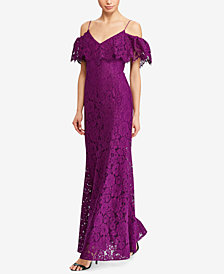 Lauren Ralph Lauren Lace Cold-Shoulder Gown