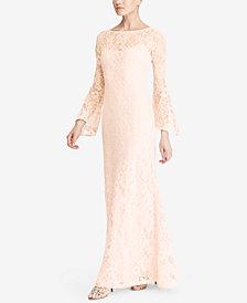 Lauren Ralph Lauren Lace Bell-Sleeve Gown