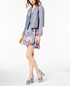 Jill Jill Stuart Chambray Jacket & Floral-Print Dress, Created for Macy's